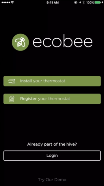 Ecobee mobile app login screen