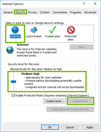 Internet Options with Security tab, Internet zone, Default level button, and Medium-high slider highlighted.