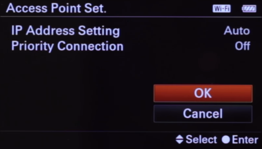 Camera additional wireless settings screen