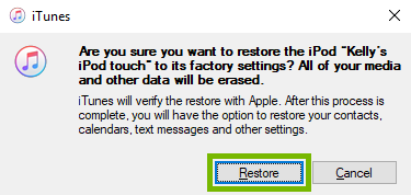 Restore confirmation box with Restore option selected. Screenshot.