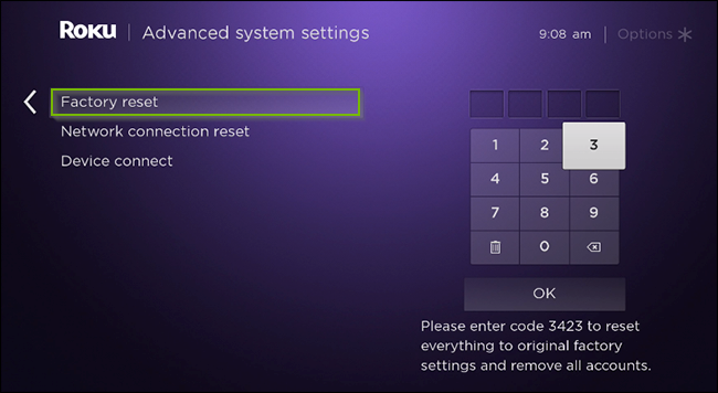 Roku TV menu with the factory reset option highlighted.