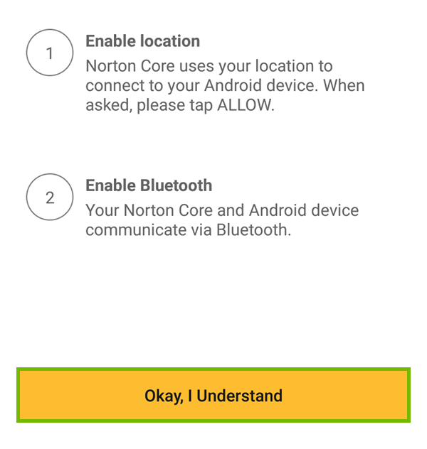 Location and Bluetooth notice with Okay, I Understand highlighted.