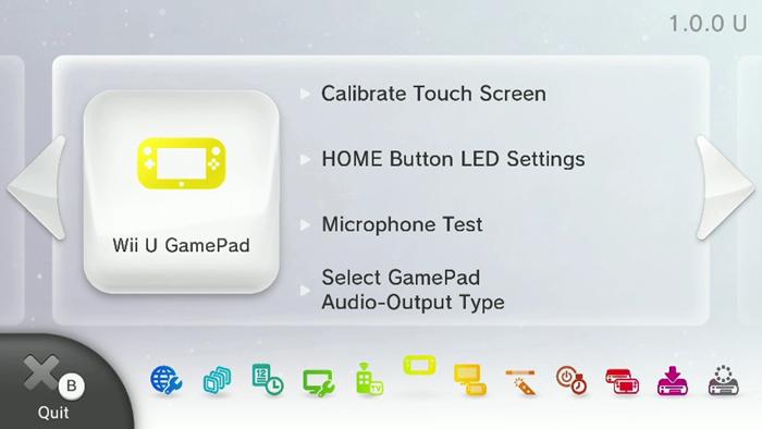 Nintendo Wii U system settings menu highlighting the Wii U gamepad icon.