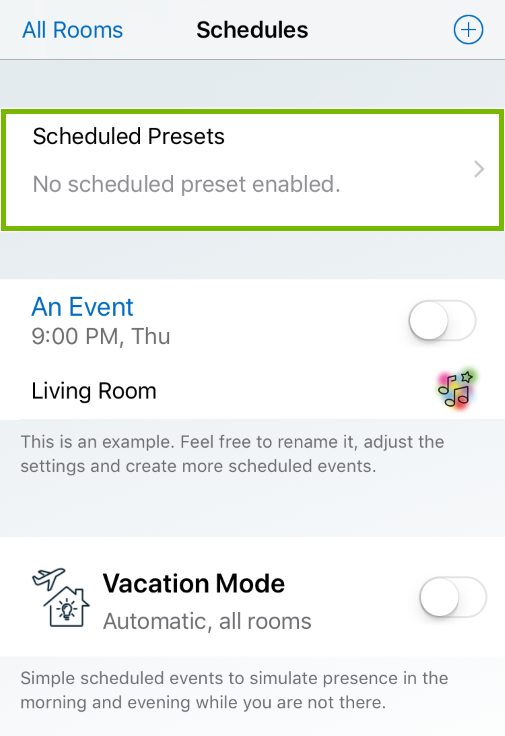 Scheduled Presets highlighted in WiZ app.