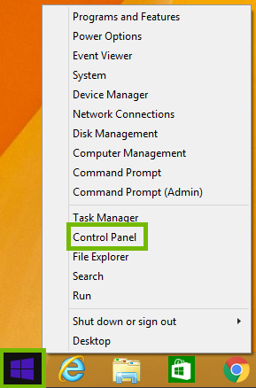 Windows 8 Start Menu right click menu with Control Panel highlighted.