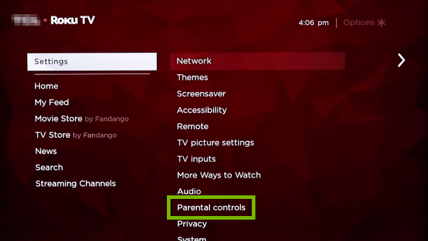 Parental Controls option highlighted in Roku TV settings.