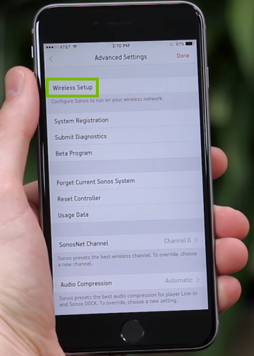 Wireless Setup highlighted on mobile app Advanced Settings screen