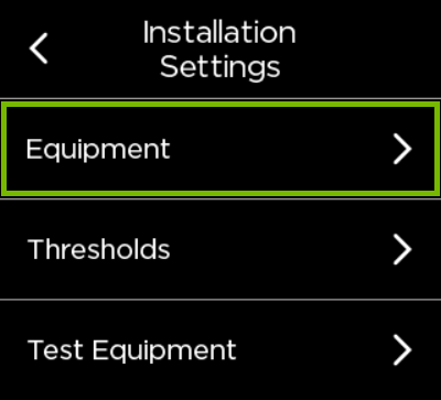 Equipment option highlighted in ecobee settings.