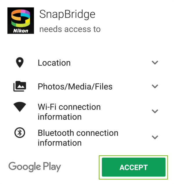 SnapBridge extra permissions with Accept highlighted.