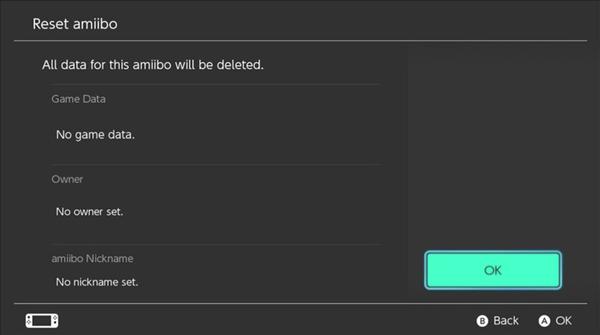 Nintendo Switch screen showing am amiibo being reset