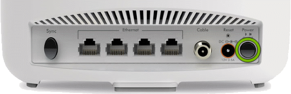 Power button highlighted on rear of Orbi Cable Modem Router.
