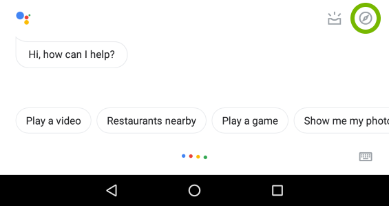 Explore option highlighted in Google Assistant.