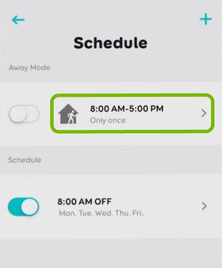 Away Mode option highlighted in schedule settings for selected bulb in EufyHome app.