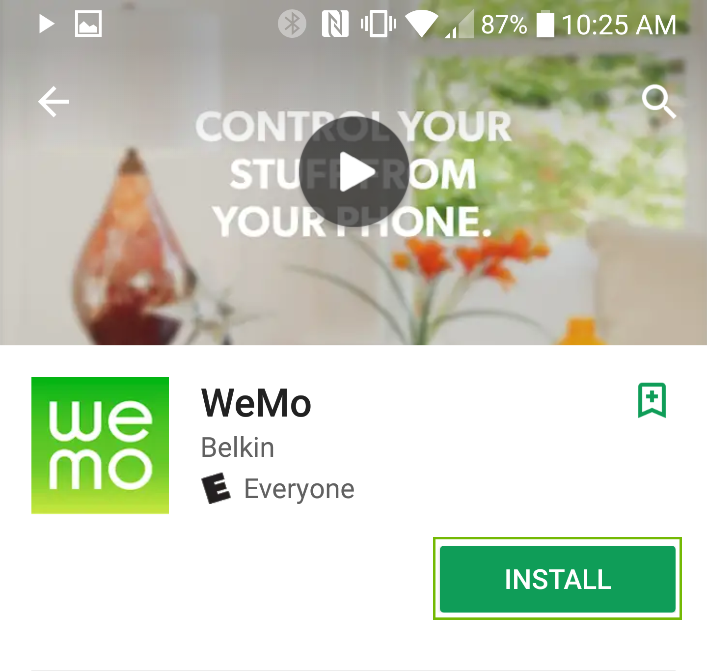 WeMo app store page with Install button highlighted.