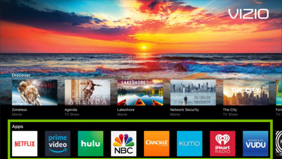 Built-in apps highlighted on main screen of VIZIO SmartCast TV.