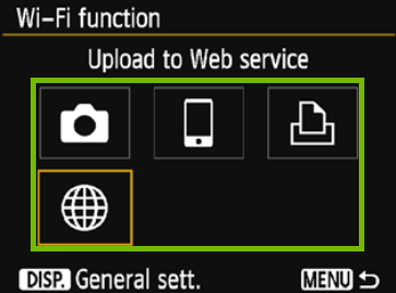 Wi-Fi function with activity selection highlighted