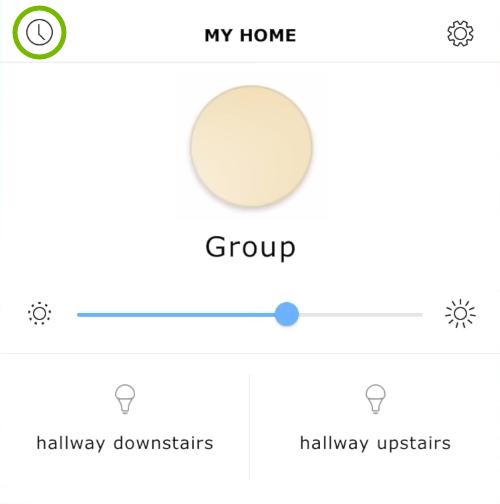 Timer symbol highlighted in Ikea Tradfri app.