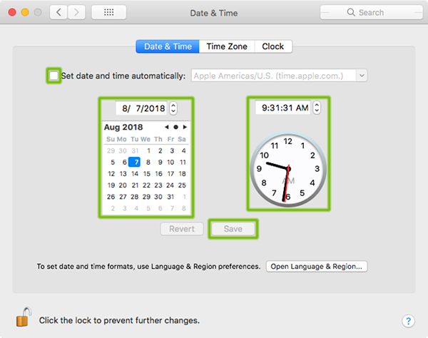 Date and Time Preferences with Set date and time automatically unchecked, with calendar, clock, and save button highlighted.