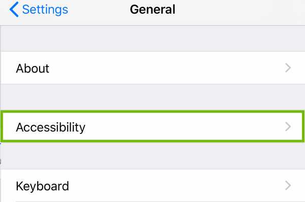 General Settings with Accessibility highlighted.
