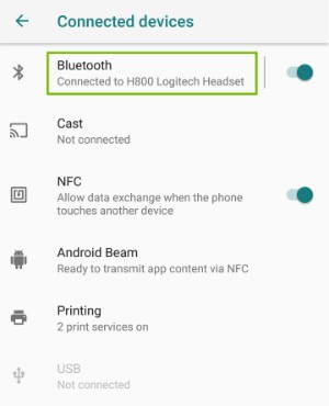 Connected Devices settings page with Bluetooth highlighted