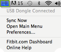 macOS menu bar highlighting the FitBit app icon.