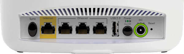 DC connector highlighted on rear of Orbi Router.