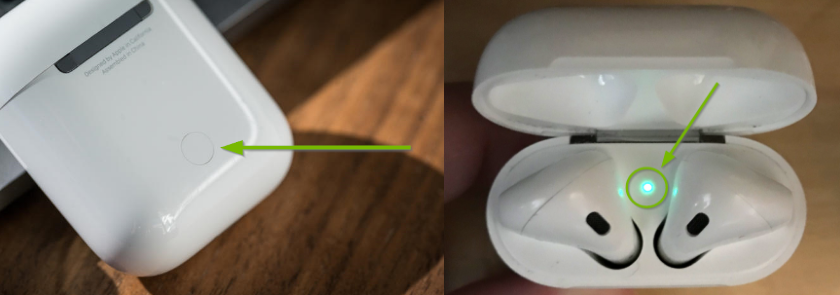 Apple AirPods rear setup button, and the AirPods case open with the status light lit being highlighted.