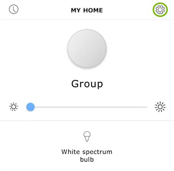 Settings icon highlighted in Ikea Tradfri app.