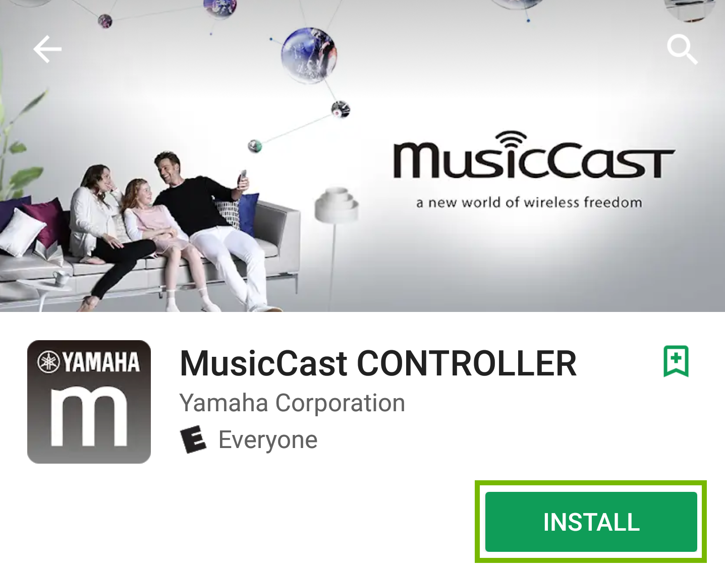 MusicCast App Page with install button highlighted.