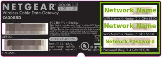 Example sticker from a router highlighting the wireless network name and security key on it.