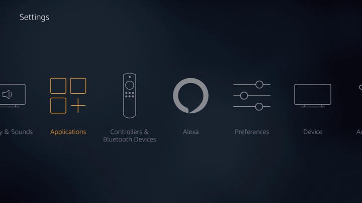 FireTV settings screen with Applications option highlighted.