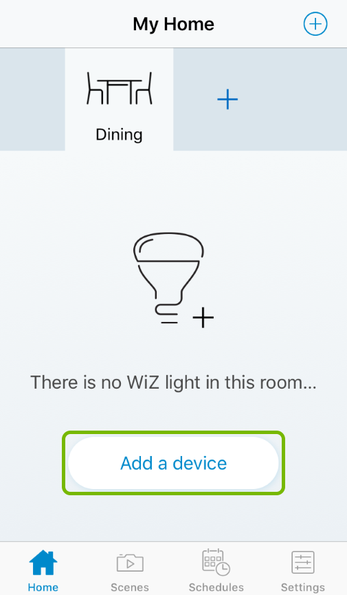 Add a device button highlighted in WiZ app.