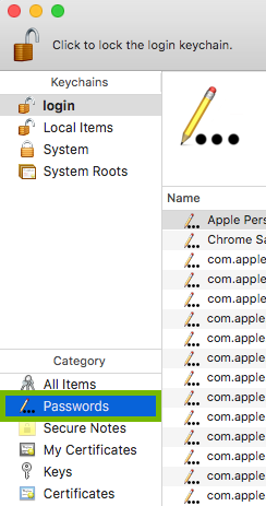 Passwords category highlighted in Keychain Access.