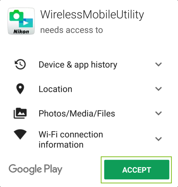 Extra permissions prompt with Accept highlighted.