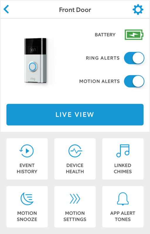 Ring Video Doorbell 2 dashboard in Ring app.
