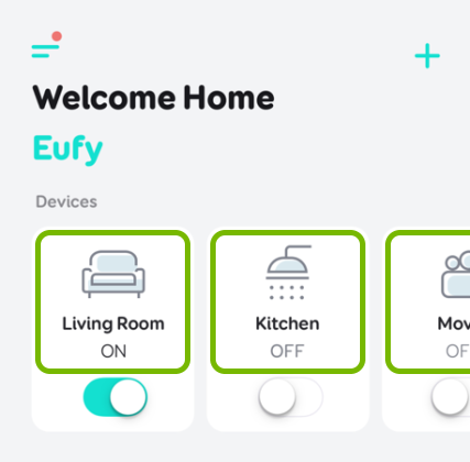 Plug tiles highlighted in EufyHome app.