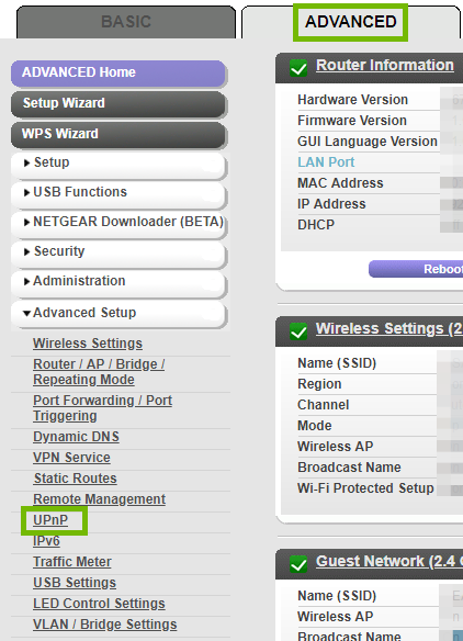 Router settings with Advanced tab and UPnP highlighted.