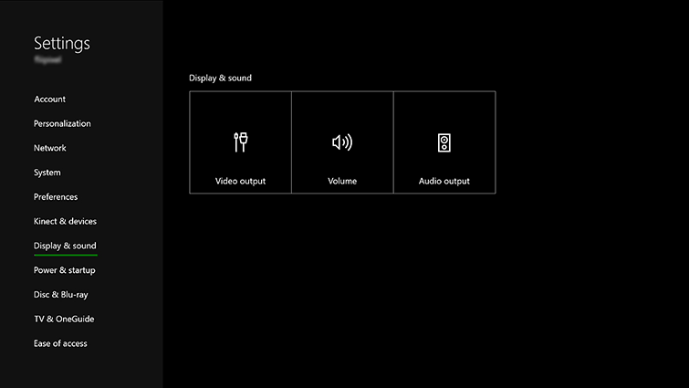 Xbox Settings with Display and Sound selected. Screenshot.