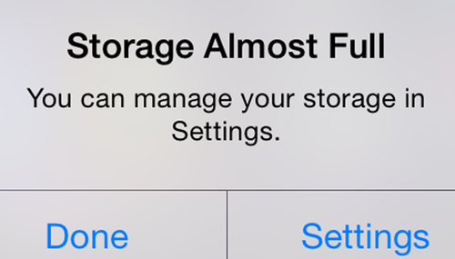 iOS device popup for full storage