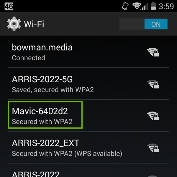 Wi-Fi list with Mavic highlighted. Screenshot