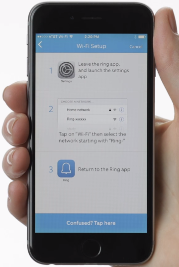 Ring app displaying instructions on how to connect your phone to a temporary setup network.