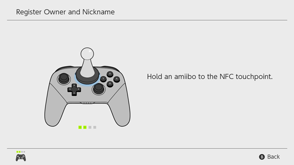 Amiibo being registered with the Pro Controller