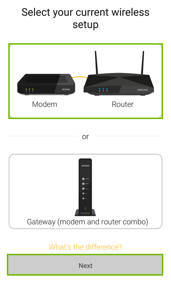 Current setup choice with Modem Router and Next highlighted.