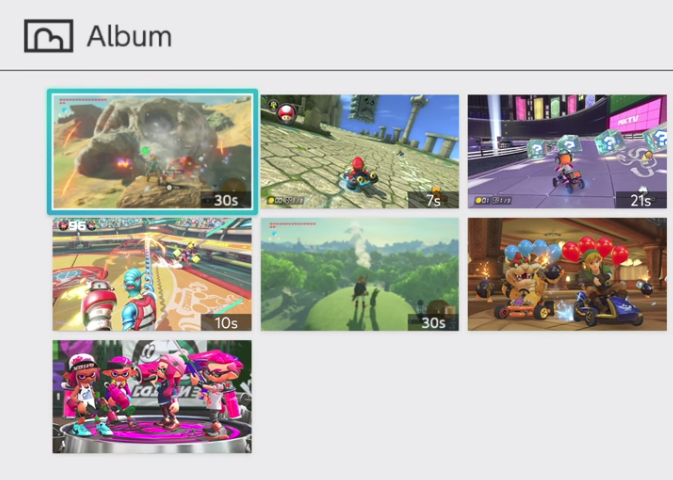 Nintendo Switch album showing video selections