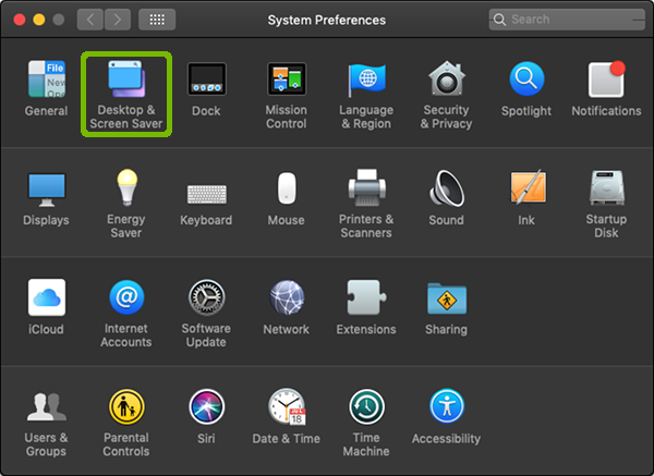 System Preferences with Desktop and Screen Saver highlighted.