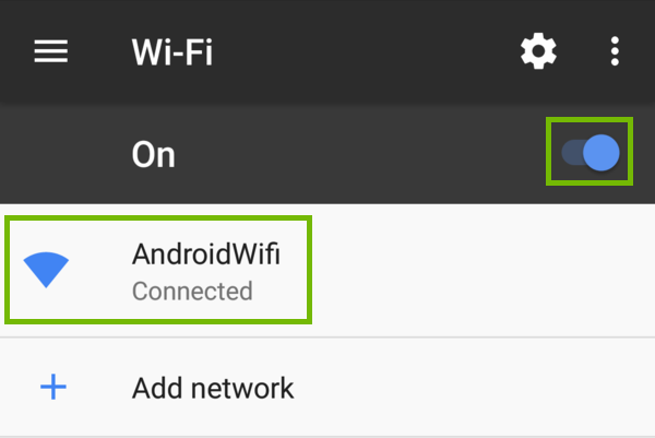 Wi-Fi settings with Wi-Fi On switch and connected network highlighted.