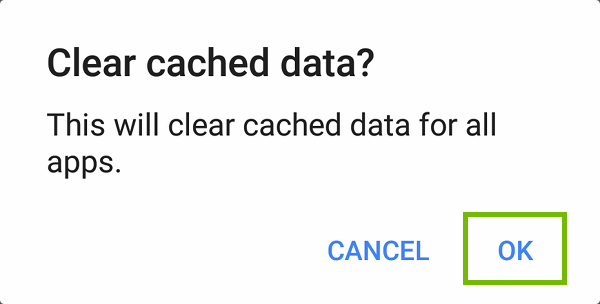 Clear cached data dialog with OK highlighted.