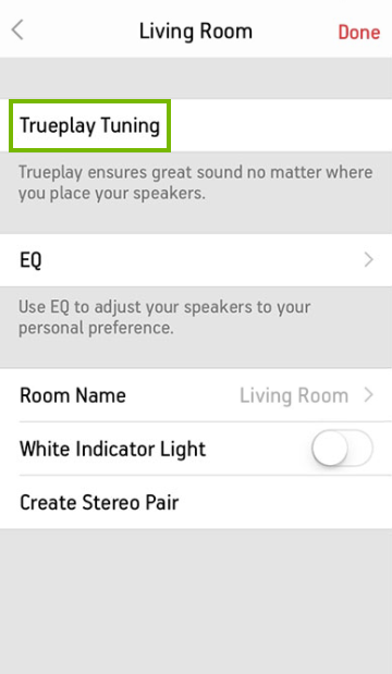 Speaker settings screen in mobile app