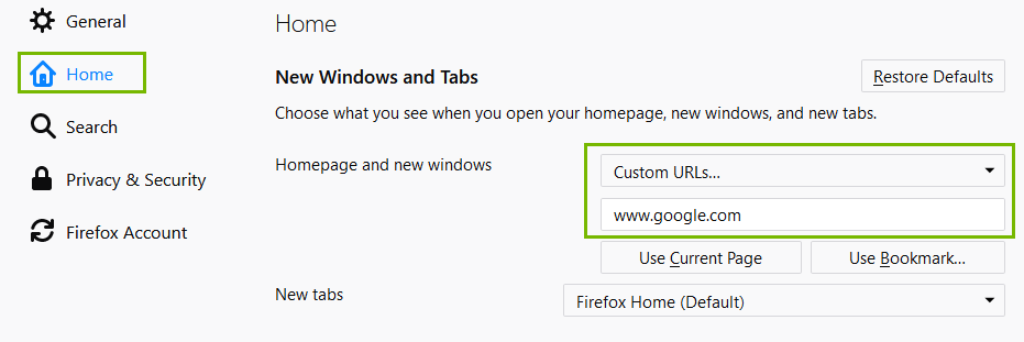 Firefox Settings menu with Home and Custom URL highlighted. Screenshot