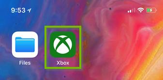 Xbox app highlighted on iOS. Screenshot.